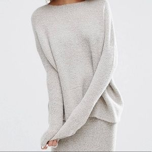 ASOS textured boat neck sweater in oatmeal
